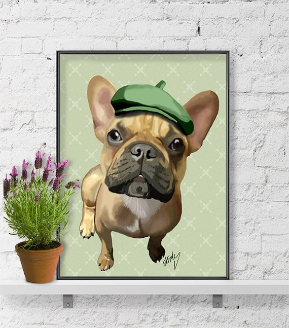 9c86d4cf60a French Bulldog and Green Hat French bulldog print frenchie