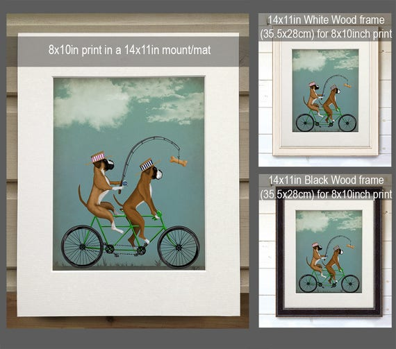 Funny gift dad Boxer print Dad fishing gift Funny print Tandem bike Cycling gift Funny gift for boys Funny gift husband Boxer on tandem