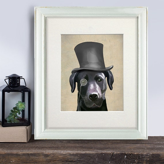 Black Labrador gift Classy dog monocle Black lab mom Black lab  d606afb2bd9b