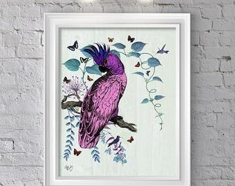 The Pink Parrot  Art Print, Wall Decor, Wall Art, Wall Hanging, Parrot Print parrot decor