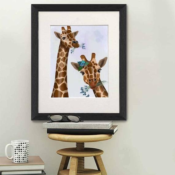 Giraffe Birds Stretched Canvas Print Framed Wall Art Home Kids Room Decor Gift