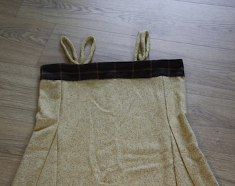 Viking overdress/hangerock/pini yellow with checkered brown fabric at the top, wool