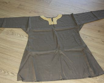 Viking linen tunic green/grey with yellow neck