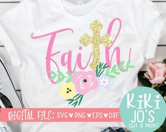 a6b03942 Faith SVG, Cross Easter SVG, Religious svg, dxf, png, eps, faith flower  design, Jesus svg, cute religious clip art, wood sign design, church