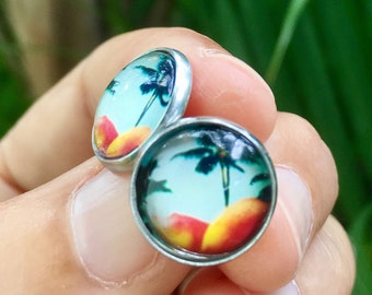 tropical studs, tropical earrings, original art jewelry,  gift for her, gift for woman, handmade in Hawaii, original art, unique jewelry