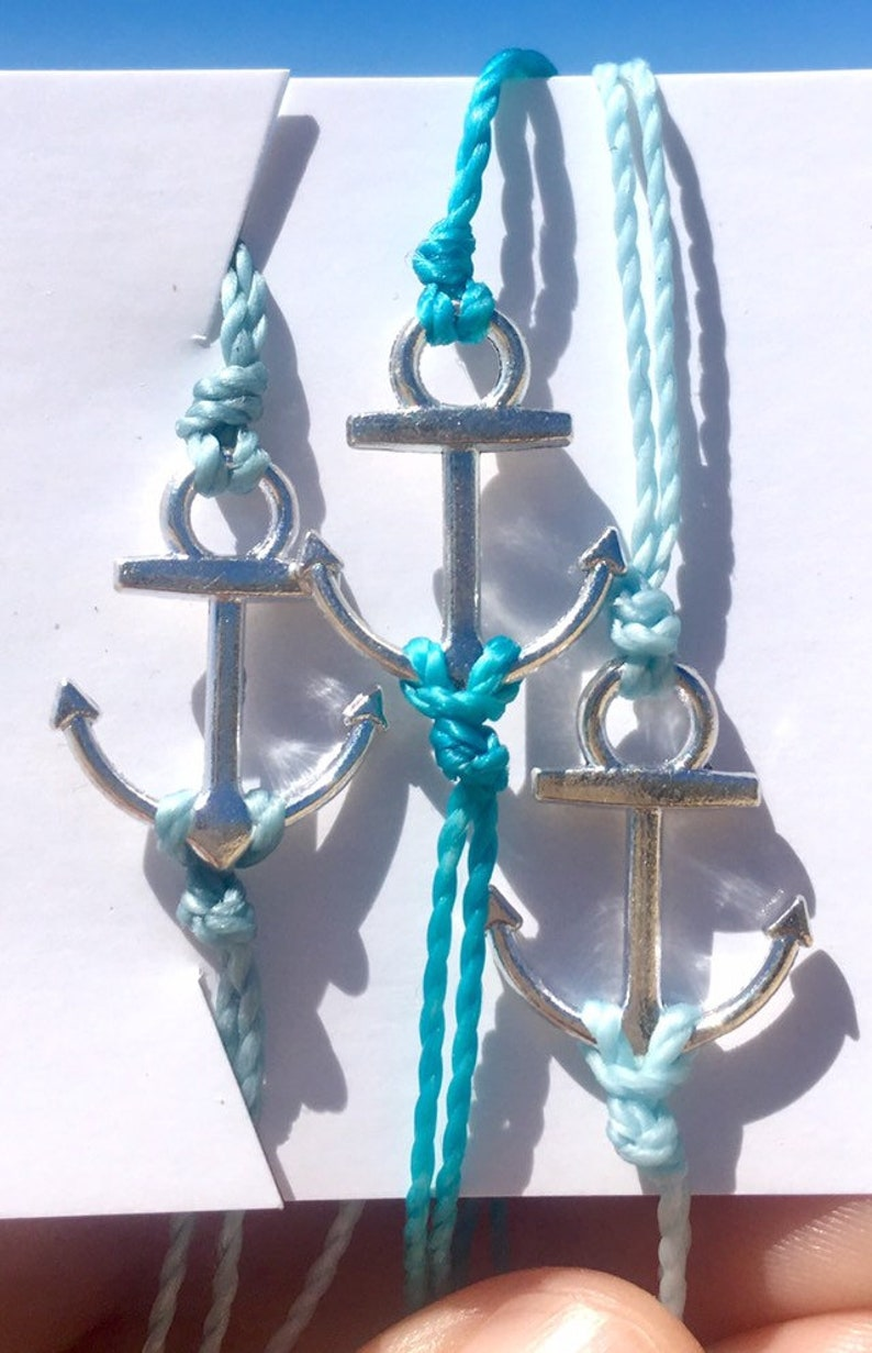 waterproof gift for sailor nautical jewelry summer jewelry anchor anklet friendship bracelets wish bracelet 2 anchor bracelets blue