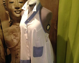 White Halter tunic and blue gingham t44