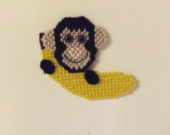 Monkey Magnet in Plastic Canvas Needlepoint