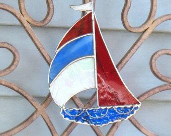 Red, White, And Blue Sailboat Suncatcher, Stained Glass Bathroom Decor,  Beach House, Tiki Bar Decor, Ocean Decor, Nautical Window Hanging.
