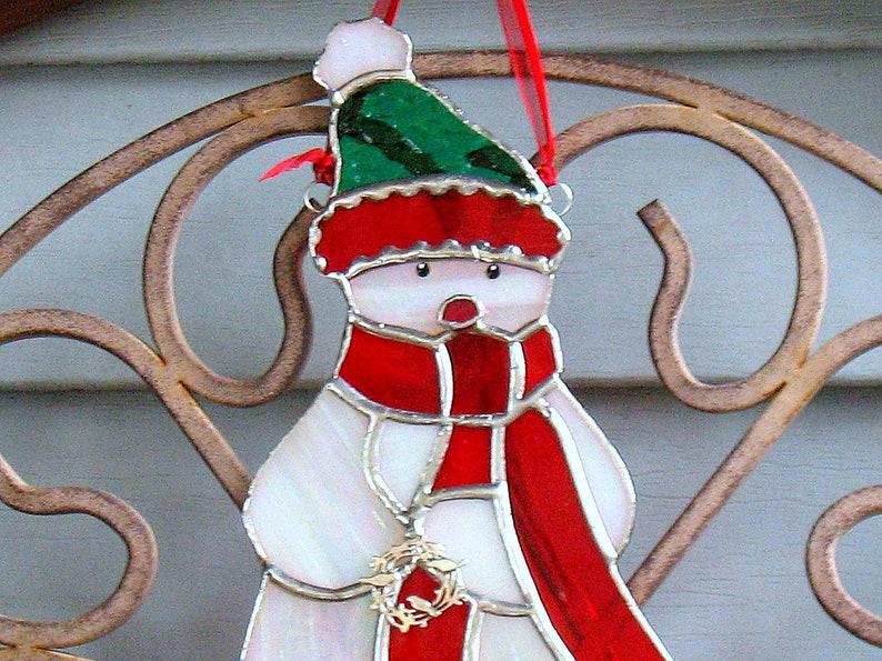 Vintage Suncatcher Snowman Window Decoration Christmas Ornament Winter
