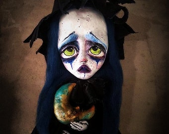 Witch art doll-clown doll-circus doll-witch doll-handmade girl doll-OOAK art doll,handmade clown doll-circus themed doll-night creature doll