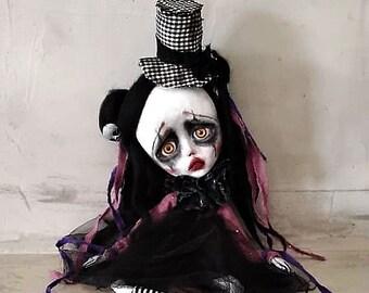 SOLD!!!!Clown art doll-clown doll-circus doll-clown doll-clown doll-OOAK art doll,handmade clown doll-circus themed doll-circus artist doll