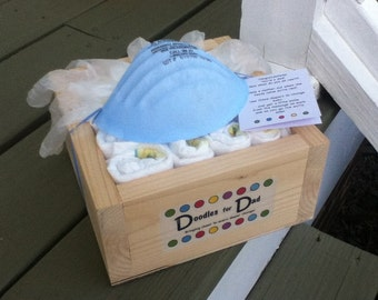 Diaper gift for a new dad: each diaper has a message geared specifically for dads!