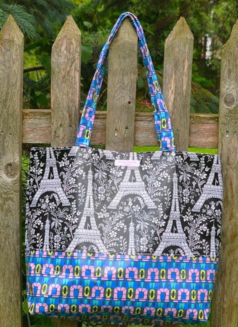 Shopping Tote Handmade Shoulder Michael Miller Eiffel Tower Waterproof LAST ONE! Market Bag Tote Oilcloth Laminate Cotton Fabric