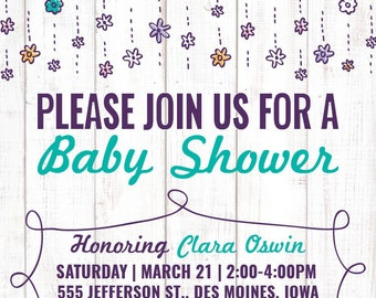 Baby Shower Invite - White Washed Wood Texture