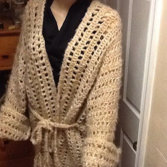 Hand crochet large sweater jacket