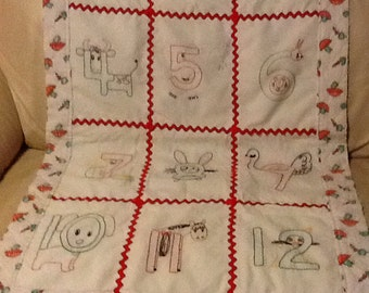 Antique 1940's Numbered Animal Baby Quilt