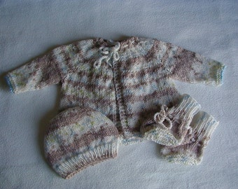 Hand Made Knitted Baby Set Sweater Hat Booties Light Brown & Cream 3 months