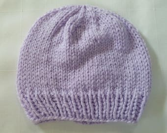 Hand Made Knit Lilac Baby Hat 0-3 Months *1B Free Shipping Canada/USA