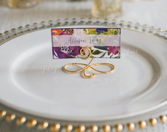 19 Gold Wire Name Place Card Holders, Escort Card Holder Stands