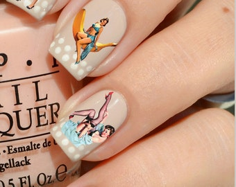 Nail Decals: Vintage Pinup Girls Water Nail Decals 44 per purchase Summer Sale!!
