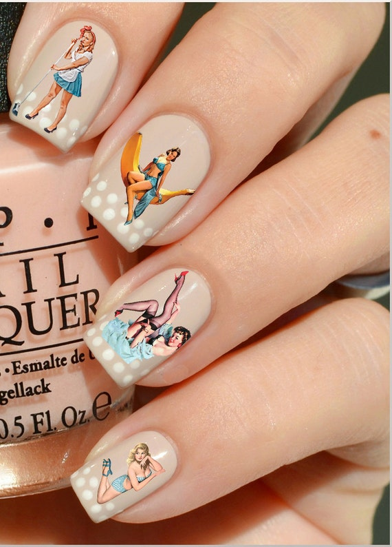 Nail Decals: Vintage Pinup Girls Water Nail Decals 44 per | Etsy