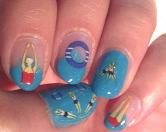 Nail Decals: Synchronised Swimmers 2 Sheets per purchase Summer Sale!!!