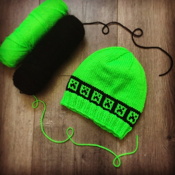 5ad1fb3527f Creeper Knit Hat. Hand Knit in the Style of Minecraft. Green