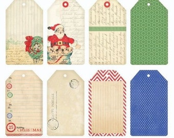 Melissa Frances Christmas Tag Collection, 16 Vintage/Retro Style Christmas Tags