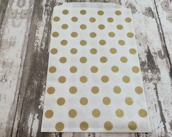 """12 Gold Polka Dot Paper Gift Bags, 5"""" X 7 1/2"""".  White Kraft Paper with Gold Polka Dots, Favor Bags, Party, Wedding, Shower"""