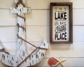 """The Lake Is My Happy Place Sign 14"""" x 7.5"""""""