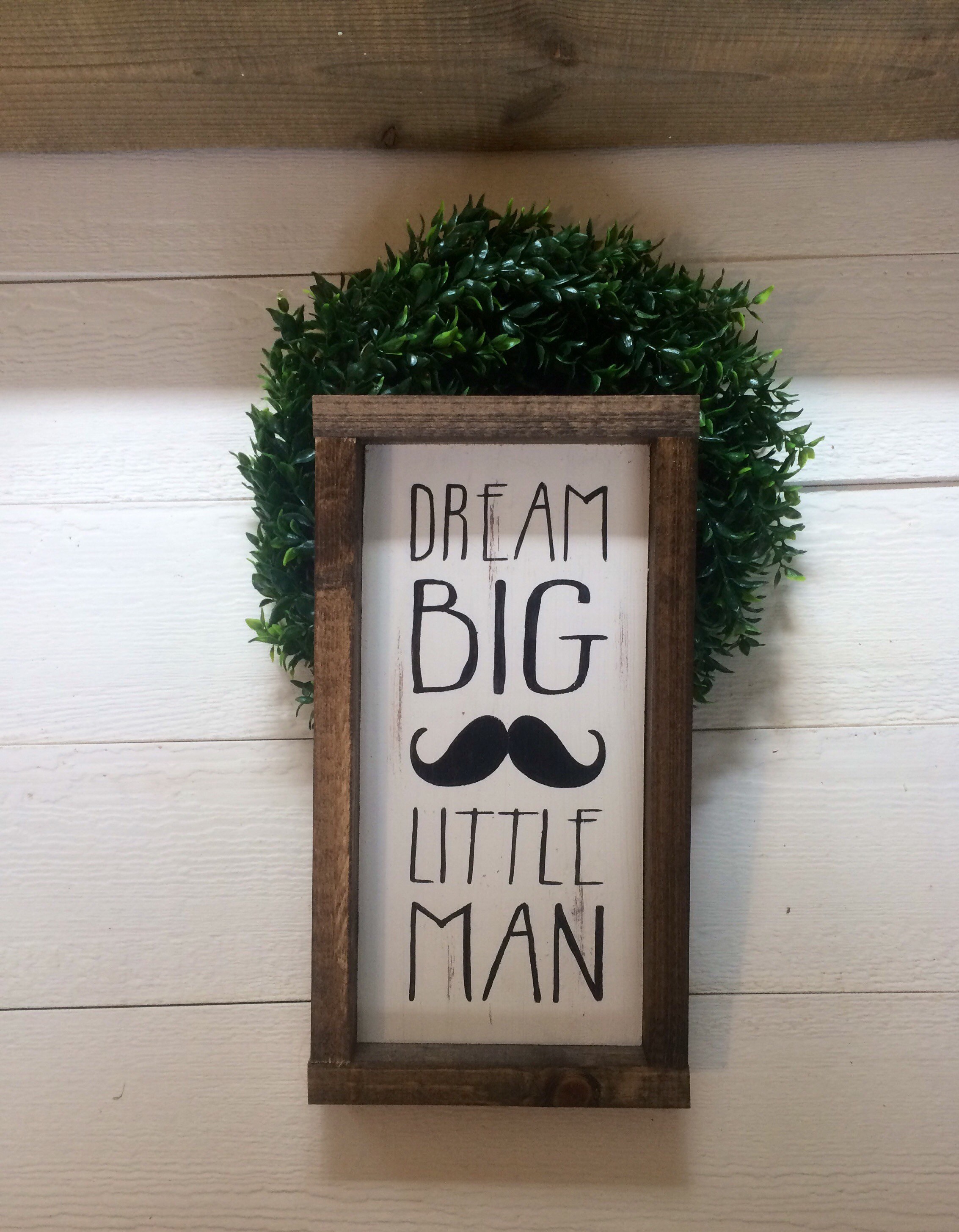 Dream Big Little Man Wood Framed Sign Baby Nursery Decor