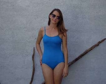 One Piece Swimsuit / Vintage 80's Teal Blue Bathing Suit /  Small Medium