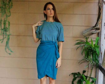 Vintage Color Blocked Dress / Striped Teal Green & White Wrap Tie Dress / 1980s Medium