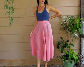 Vintage Midi Skirt / Pink Button Down High Waisted / Medium Large