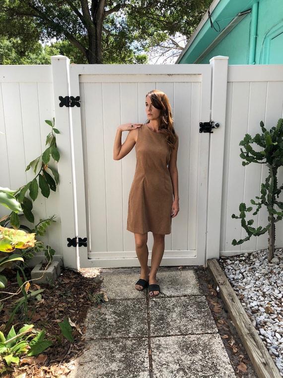 Vintage Body Con Dress / Tan Faux Suede Dress / 1… - image 2