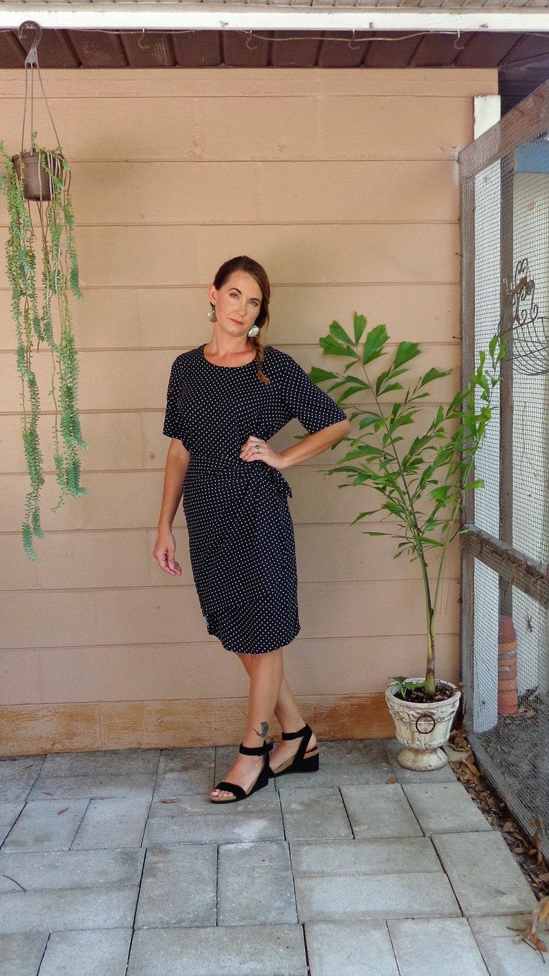 0962fee5b Vintage Wrap Dress / Polka Dot Black & White Midi Dress /Large   Etsy