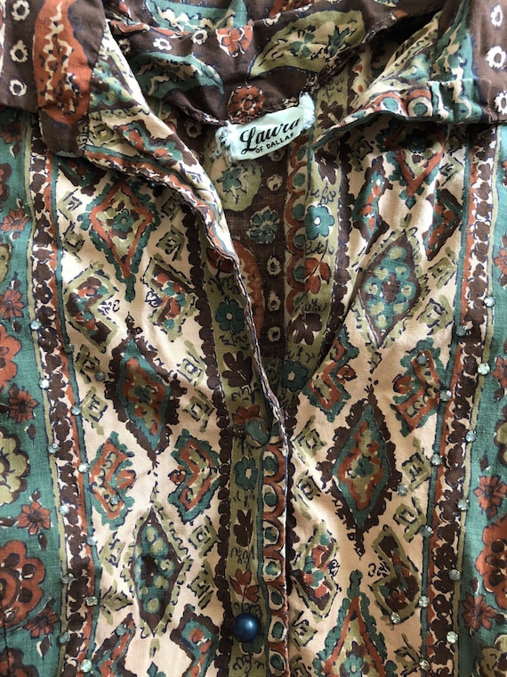 Vintage Floral Paisley Dress /  Button Up  Full S… - image 8