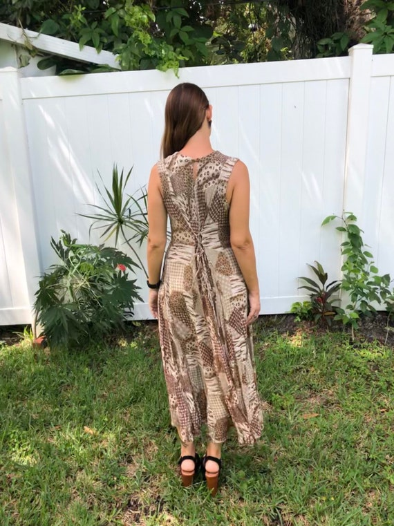 Vintage Maxi Dress / Rayon Tan Brown Abstract Pri… - image 6