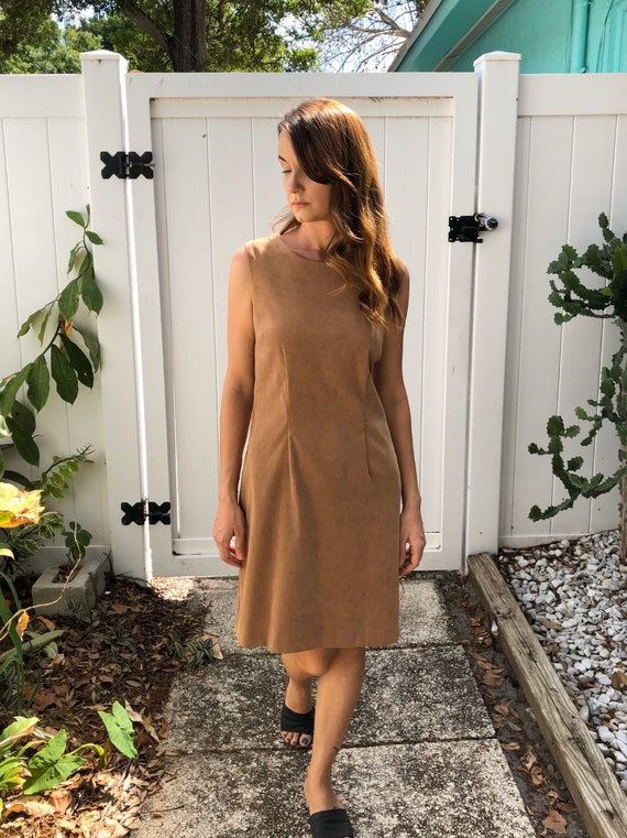 Vintage Body Con Dress / Tan Faux Suede Dress / 1… - image 8