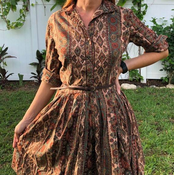 Vintage Floral Paisley Dress /  Button Up  Full S… - image 7