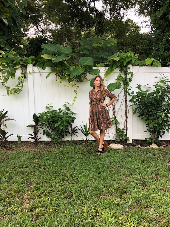 Vintage Floral Paisley Dress /  Button Up  Full S… - image 2