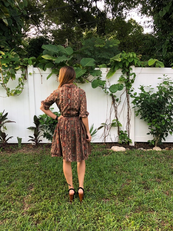 Vintage Floral Paisley Dress /  Button Up  Full S… - image 6