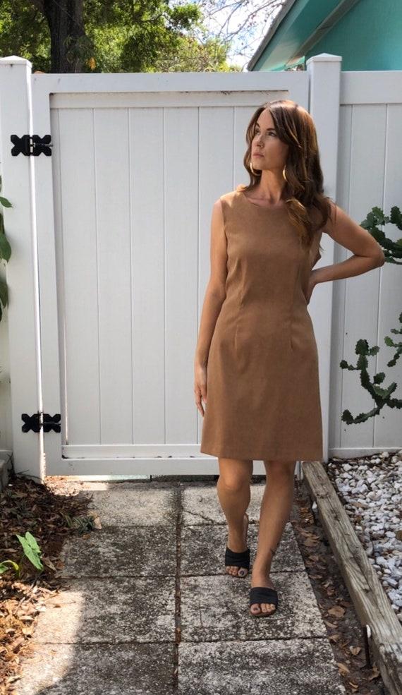 Vintage Body Con Dress / Tan Faux Suede Dress / 1… - image 7