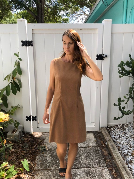 Vintage Body Con Dress / Tan Faux Suede Dress / 1… - image 5