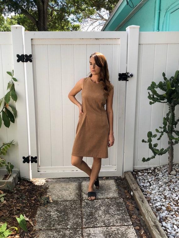 Vintage Body Con Dress / Tan Faux Suede Dress / 1… - image 1