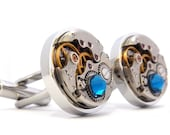 Blue Steampunk Cufflinks with Vintage Watch Movements. Wedding Cuff Links, Gifts For Him.