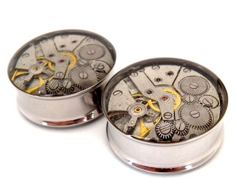 Steampunk Plugs / Tunnels  - Gears In Your Ears With Vintage Watch Movements. 26mm gauge. Pair. Pre-Order