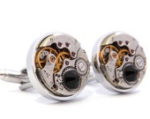 Watch Cufflinks with 'Black Hematite' Black Crystals. Steampunk Wedding Cuff Links. Modern Vintage Style Gifts For Men.