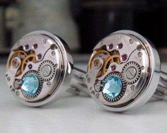 Steampunk Cufflinks with Vintage Watch Mechanisms & 'Aquamarine' Crystals. March Birthstone Cuff Links.